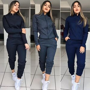 Women Two Piece Set Autumn Spring Clothes Solid Color Long Sleeve Zipper Jacket Coat and Pants Workout Joggers Female Streetwear Outfits
