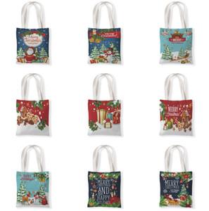 The latest size 33X37CM, Christmas gift bag, Christmas decoration canvas shoulder bag, student handbag, Christmas bag, free shipping