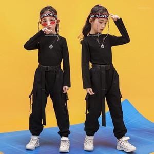 Çocuk Kız Uzun Kollu Siyah Hip Hop Dans Kostümleri Gençler Çocuklar için Balo Salonu Giysi Kıyafetleri Bahar Güz Moda Giysileri Suit1