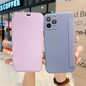Candy Colors Liquid silicone Phone Case For iphone 12 11 Pro Max XS MAX XR X 8 plus 2020 new Frosted Leather case
