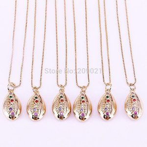 Pendant Necklaces 10Pcs Wholesale Fashion Style Gold Color Micro Pave Colorful Cz Conch Shell Charm Necklace Jewelry For Women Girls1