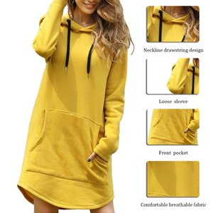 New Hoodie Women Dress Casual Hooded Pocket Long Sleeve Pullover Sweatshirts Womens Fashion Hooded Autumn Winter Dropshipping