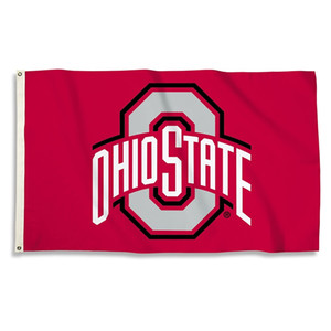 Custom Digital Print 3x5ft Free Drop shipping Outdoor Sport NCAA College Football Ohio State Buckeyes Flag Banner for Decoration