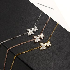 2020 Spring Style Sweet Necklace Rose Gold Gold Silver Color Double Butterfly Pendant Necklace For Woman Fashion Jewelry