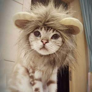 Funny Kitten Puppy Cosplay Lion Mane Costume Halloween Wig Cap Hat Pet Dogs Xmas Clothes Cute Fancy Dress with Ears Autumn Winter PetShop