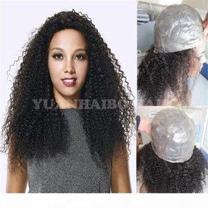 High quality 1b virgin peruvian hair kinky curly full thin skin wig for black women free shipping