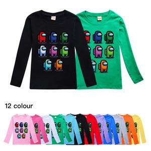 84 Colors Game Among US Cartoon Cute Print Long Sleeves T shirt Baby Boys Girls Sweatshirt Children Kids Tops Tees Sports Sweater E112102
