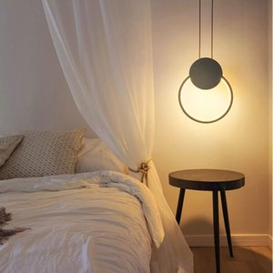 Nordic Minimalist White Square Black Round Pendant Lamp with Long Dimmable LED High Suspension Ceiling Light for Bedside Decoration