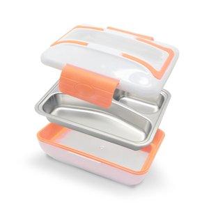 Tenbroman 220V Caja de almuerzo climatizada eléctrica eléctrica Calentador de alimentos térmicos portátil con contenedor de acero inoxidable desmontable Limpieza de cubiertos T200111