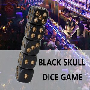 Funny Design Skull Dice Dice Tower Universal Six Sided D6 3D Skeleton Portable Games Accessory 5 x Skull