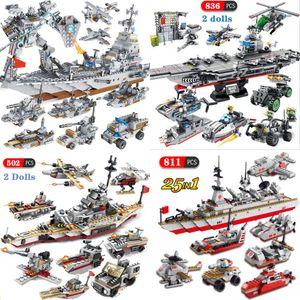 25in1 ww2 военный военный военный корабль строительные блоки военно-морского хозяйства современные армии военный корабль города создатель фигурки кирпичи для детей игрушек подарки Y1130