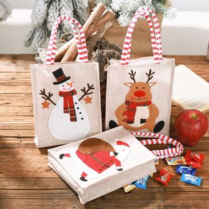 Noel Tuval Çanta İşlemeli Tote Keten Yeniden kullanılabilir Çocuk Hediye Şeker Çantası Alışveriş Çantası Noel Süsleri DHA2356