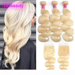 Malaysian 613# Blonde Body Wave Bundles With Lace Closure 4X4 With Baby Hair Extensions Bundles With Closures 8-28inch 613 Color