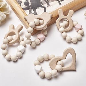 Baby-Silikon-Pflege Armbänder Holz Beißring Silikon Perlen Zahnen Holz Rasseln Spielzeug Baby-Beißring Armbänder Nursing Spielzeug Geschenk