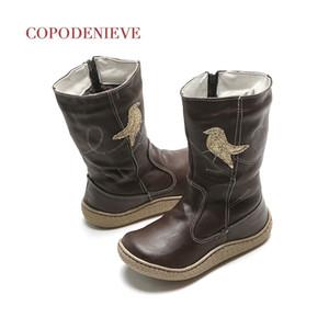 Booteneve Girl Boots Дети сапоги Высокие сапоги Натуральная кожа 201110
