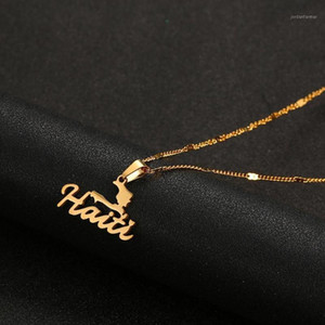 Stainless Steel Haiti Map Pendant Necklace Women Girls Ayiti Maps Gold Color Haiti Charm Jewelry1