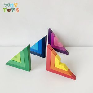 مونتيسوري قوس قزح اللون التدرج الزاوية اليمنى اللبنات لبناء ألعاب تعليمية للأطفال