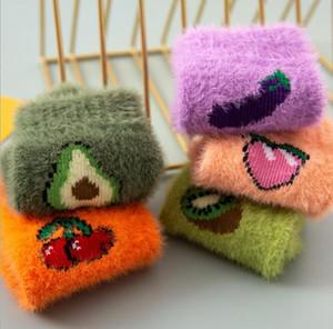 New plush warm socks cartton fruit stocking winter fleece Casual Socks women mink cashmere comfortable sock lady girls christmas sock gift