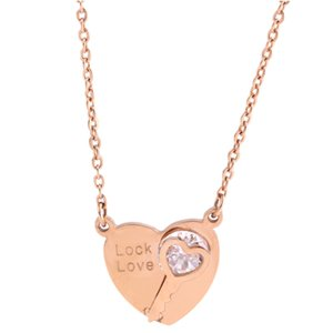 fashion 18k rose gold plated stainless steel love heart key crystal pendant women necklace accessory jewelry