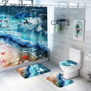 Zeegle Waterproof Bathroom Curtain Shower Curtain Anti-slip Bathroom Carpet Toilet Cover Mat Foot Mat Washable Bathroom Rug Set Y200407