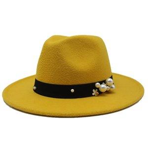 Seioum 14 Couleurs Chapeau Femme Femme Large Brim-Bord de laine Fedora Chapeaux Jazz Chapeau Classique Feuil Floppy Cloche Cap Top Chapeau
