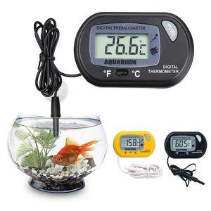 MINI LCD Thermomètre d'aquarium numérique Thermomètre de poisson Température de la température de l'eau Noir Jaune Terrain Thermomètre avec capteur câblé KKA2916