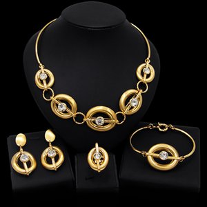 Yulaili Gold Color Metal Arab Jewelry Sets Hollow Necklace Bangle Earrings Ring Wedding Bijoux Dubai Bridal African Jewelery Free Shipping