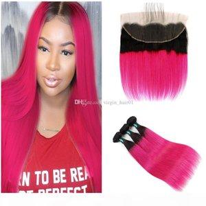 Двухцветное 1b Rose Red Straight Пучки волос с кружевом Фронтальная Закрытие Темные корни волос Ombre Связки С 13x4 Lace фронтальным Закрытие