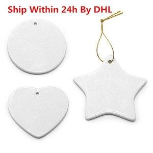 Stock disponible en blanco sublimación blanco cerámica colgante creativo navidad adornos de transferencia calor transferencia de calor bricolaje decoraciones cerámicas corazón redondo