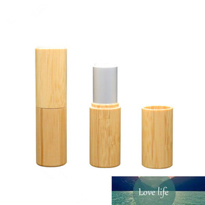 Wholesale 12.1MM Bamboo Empty Lip stick Container Lipstick Tube Matte Silver Lip Balm Tubes Bamboo Makeup Refillable Containers