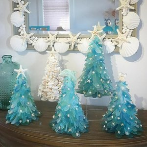 Christmas Tree Luminous Stone Manicure DIY Blue Ocean Series Sea Beach with Accessories Bag Handmade Ornaments For Home Decor