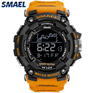 SMAEL New Fashion Men Orange Multifunction Waterproof Big Dial LED Digital Watch Men Casual Sport Mens Watches Relogio Masculino 201124