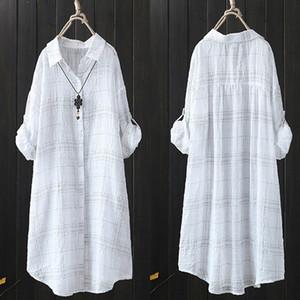 Zanzea xadrez top top mulheres assimétricas blusa outono fêmea casual túnica manga longa camisa mulher blusas plissado tops 5xl y200402