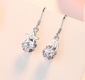 Women's Earrings New Product 925 inlaid diamond star moon Design Pendant European and American high-quality high-grade women's Earrings