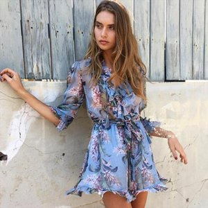 New Runway Self Portrait Women Rompers Fashion Blue Print Floral Long Sleeve Silk Sexy Female Outfits Sashes Beach Jumpusits