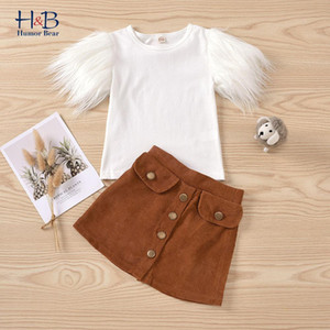 Humour Bear 2021 Summer Girls Vêtements Ensembles Fourrure À manches courtes Solide T Shirts Tops Bouton A-Line Jupes Outfits 2PCS Enfant Vêtements J1204