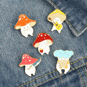 Mushroom Enamel Pin Custom Funny Guitar Accordion Brooches Bag Lapel Pin Cartoon Cute Badge Plant Jewelry Gift for Kids Friends