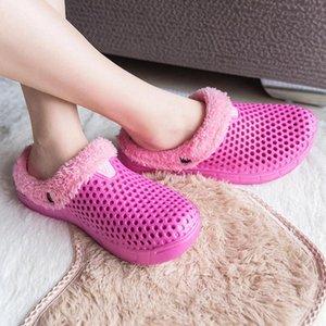 AgileStar Женщины Тапочки Зима 2021 Trend Trend House House Home Мягкие нескользящие плюшевые хлопчатобумажные Обувь Мужская комната Женские меховые слайды для женщин # IA9Q