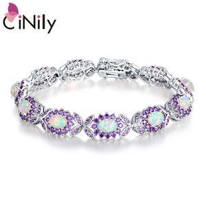 CiNily White Fire Opal Bracelets for Women Silver-plated for Women Jewelry Gems Chain Bracelet OS691-92 Y1130