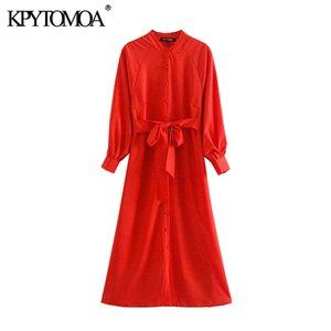 KPYTOMOA Women 2020 Elegant Fashion Office Wear Buttons Midi Dress Vintage Long Sleeve With Belt Female Dresses Vestidos Mujer