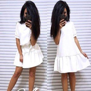 2020 Summer New Fashion Elegant Fleet Beach Clothing With Belt Casual Loose O Neck Short Sleeve Bohemia Dresses Vestidos