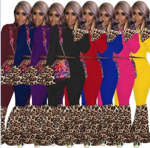 Женщины Designer Cousssuit leopard lakework с длинным рукавом Урожайные вершины Пуловер Flare Leggings Трусы Двухструктурные Установки одежды Мода Настройки G10609