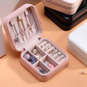 Caja de joyería de PU MONEOLAYER Caja de joya de la oreja Partamentos con cremallera Caja de almacenamiento Adornos Joyas Cajas de anillos de joyería Bins GGA3826-1