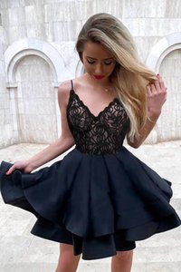 Sexy Black Short Mini Cocktail Dresses Deep V Ruffled Dusty Pink Gray Lace Party Gown Homecoming Dress