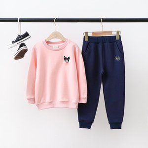 Children Two-piece Suits Kids Dog Print Sets Boys Girls Casual Solid Color Pullover + Pants Kids Fashion Tracksuits Sports Suit Hot Sales