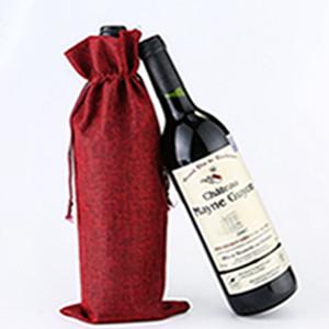Jute Wine Sacs Champagne Bouteille de vin Couvre-cadeau Pochette Buckaging Emballage Sac Mariage Partie de mariage Décoration Sacs à vin Couverture de cordon EEE2179