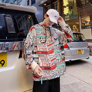 Hommes Hip Hop Sweatshirt Sweatoon Imprimer Streetwear Harajuku Pull en coton surdimensionné Automne Automne Sweat à capuche