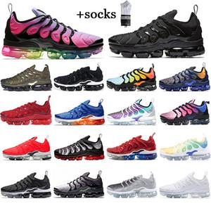 Con calcetines gratis zapatillas deportivas zapatillas deportivas de alta calidad tn plus mujeres geométrica activa fucsia negro blanco juego real lobo gris para hombre entrenadores