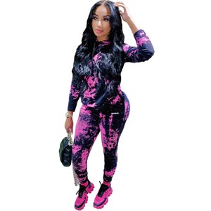 New design hot selling European and American fashion tie-dye long-sleeved hooded collar T-shirt and trousers two-piece suit 9279