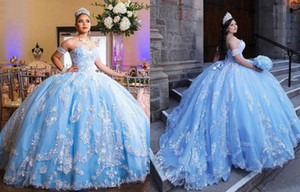 Amazing White Lace Light Blue Cheap 2021 Quinceanera Prom dresses with Detachable Short Sleeves Ball Gown Long Formal Party Sweet 16 Dress
